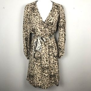 NWT Rebecca Taylor Leopard Faux Wrap Dress 6